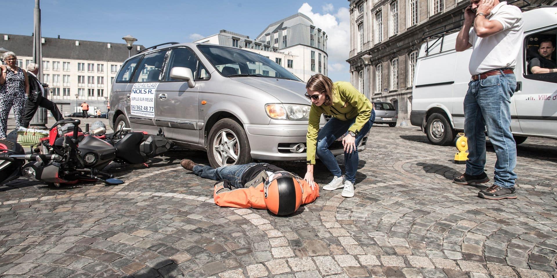 Liège - Exercice de secours - Accident voiture-moto