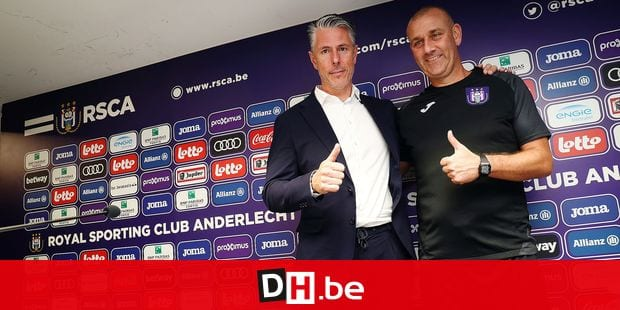 Anderlecht's sports director Michael Verschueren and Anderlecht's head coach Simon Davies pictured during a press conference of Jupiler Pro League team RSC Anderlecht to present the new outfit for the 2019-2020 season, Monday 17 June 2019 in Brussels. BELGA PHOTO VIRGINIE LEFOUR