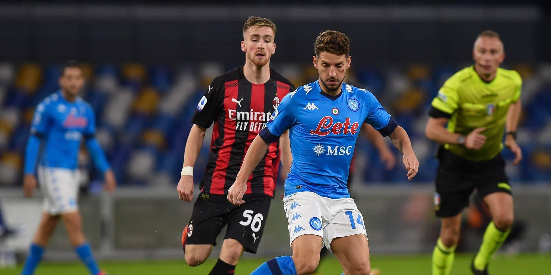 Malgré un but de Mertens, Naples s'incline à domicile contre le Milan AC de Saelemaekers