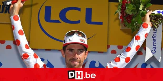Belgian Thomas De Gendt of Lotto Soudal celebrates on the podium in the red polka-dot jersey for best climber after the fourteenth stage of the 103rd edition of the Tour de France cycling race, 208,5km from Montelimar to Villars-les-Dombes, on Saturday 16 July 2016. This year's Tour de France takes place from July 2nd to July 24th. BELGA PHOTO DAVID STOCKMAN