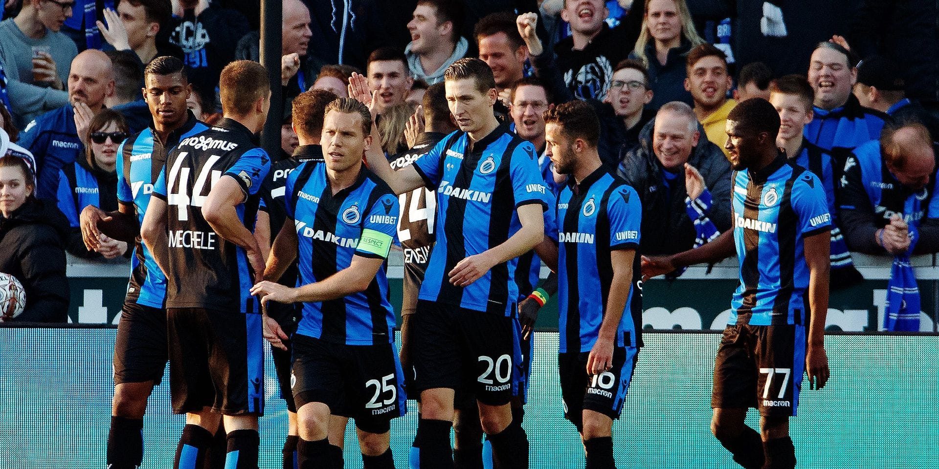 Club's Hans Vanaken celebrates after scoring during a soccer match between Club Brugge and KAA Gent, Sunday 31 March 2019 in Brugge, on day 1 (out of 10) of the Play-off 1 of the 'Jupiler Pro League' Belgian soccer championship. BELGA PHOTO KURT DESPLENTER