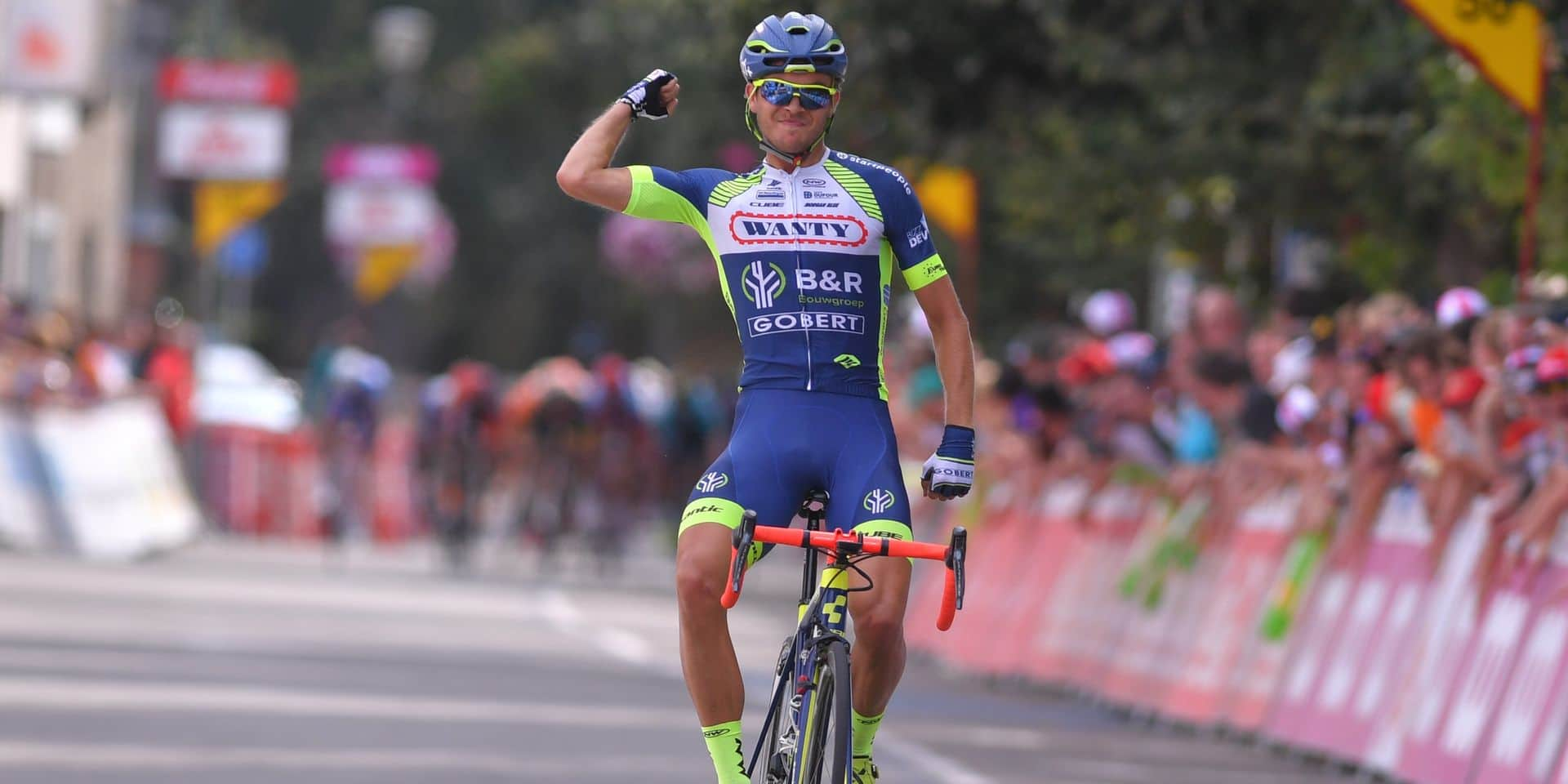 Norvegian Odd Christian Eiking of Wanty-Groupe Gobert celebrates as he crosses the finish line to win the third stage of the Tour De Wallonie cycling race, 169,2 km from Chimay to La Roche-en-Ardenne, on Monday 30 July 2018. BELGA PHOTO LUC CLAESSEN