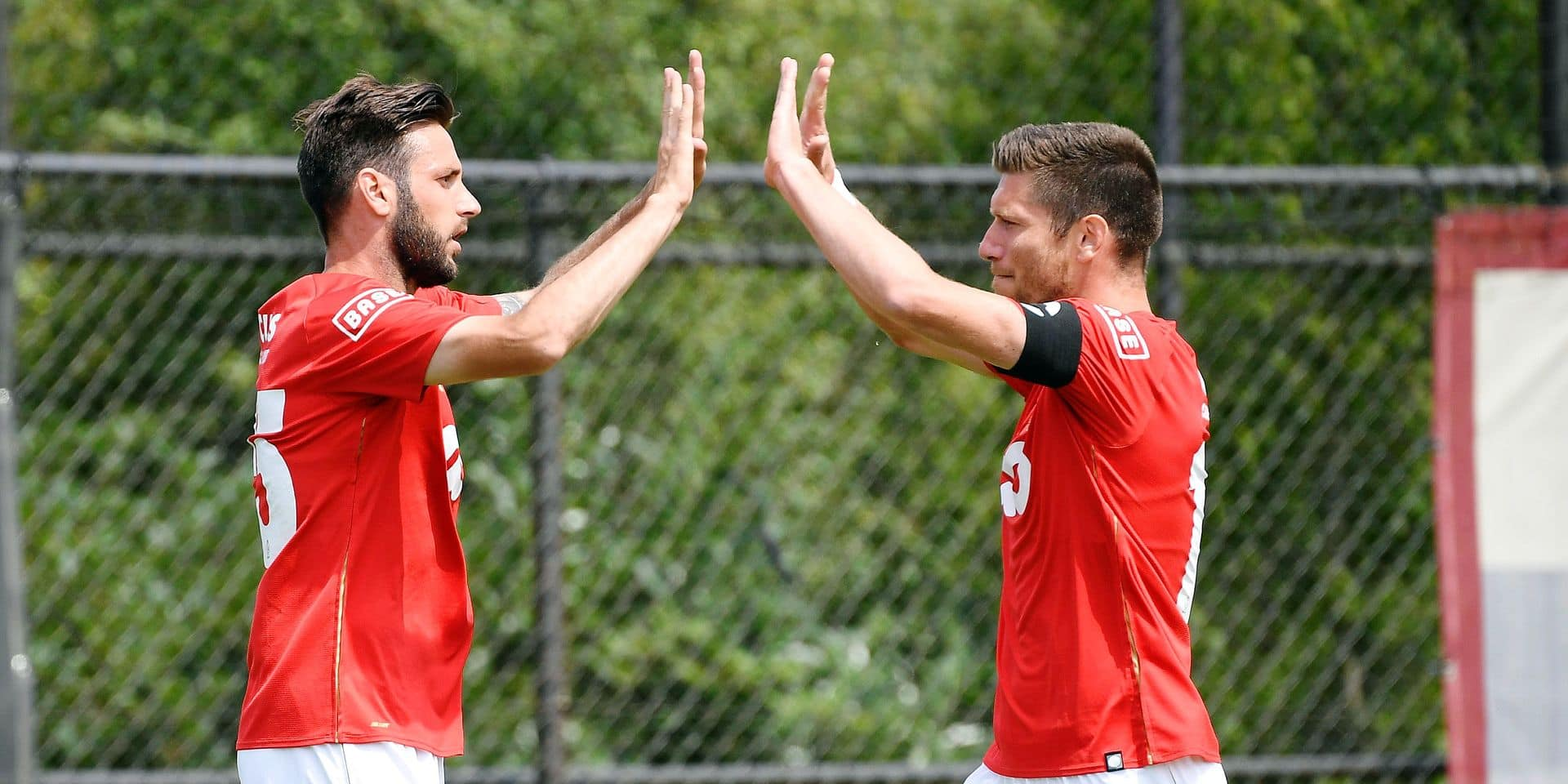 TEGELEN, THE NETHERLANDS - JULY 6 : Duje Cop of Standard Liege celebrates scoring a goal pictured during a pre-season friendly match between Standard and FK Oleksandria during last day at the summer stage camp Rheine 06/07/2019 ( Photo by Philippe Crochet / Photonews