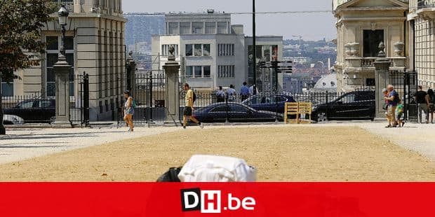 Homeless man pictured sleeping at the Warandepark/ Parc de Bruxelles as temperatures reach 33 degrees Celsius and more, in the center of Brussels Thursday 26 July 2018. Thursday 26 July 2018 marks the third day in a row with temperatures rising above 30 degrees Celsius, marking the official start of a heatwave. BELGA PHOTO NICOLAS MAETERLINCK