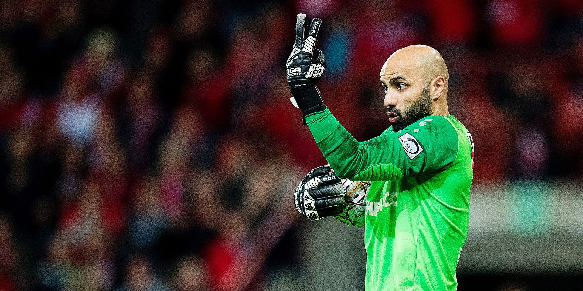Antwerp's goalkeeper Sinan Bolat reacts during a soccer game between Standard de Liege and Royal Antwerp FC, Friday 29 March 2019 in Liege, on day 1 (out of 10) of the Play-off 1 of the 'Jupiler Pro League' Belgian soccer championship. BELGA PHOTO JASPER JACOBS