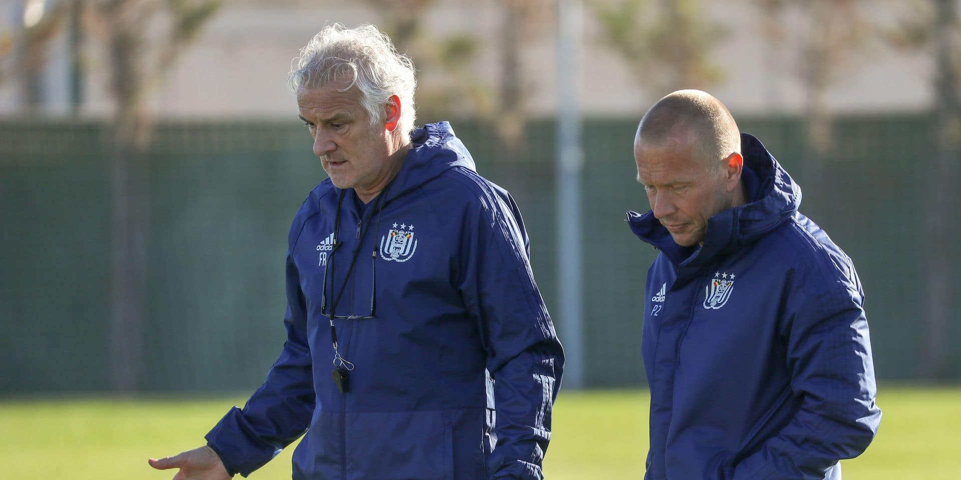 Anderlecht's head coach Fred Rutten and Anderlecht's assistant coach Par Zetterberg pictured during on the first day for the press at the winter training camp of Belgian first division soccer team RSC Anderlecht, in San Pedro Del Pinatar, Spain, Friday 11 January 2019. BELGA PHOTO VIRGINIE LEFOUR
