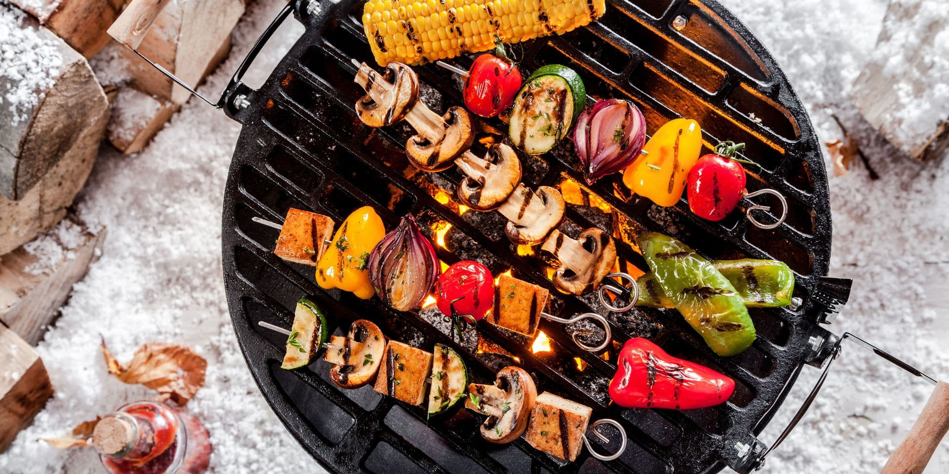 Overhead,View,Of,Colorful,Vegetable,Kebabs,And,A,Corncob,Grilling