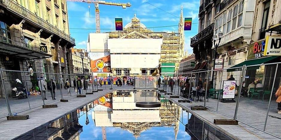 Bruxelles-Ville : Un miroir d'eau sur le piétonnier