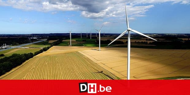 Aerial drone picture shows a wind turbines park in Seneffe, Tuesday 30 July 2019. BELGA PHOTO ERIC LALMAND