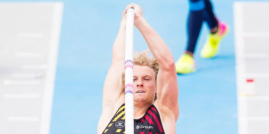 Belgian Ben Broeders pictured in action during the men's pole vault competition on the second day of the Under 23 European Championships Athletics, in Bydgoszcz, Poland, Friday 14 July 2017. BELGA PHOTO JASPER JACOBS