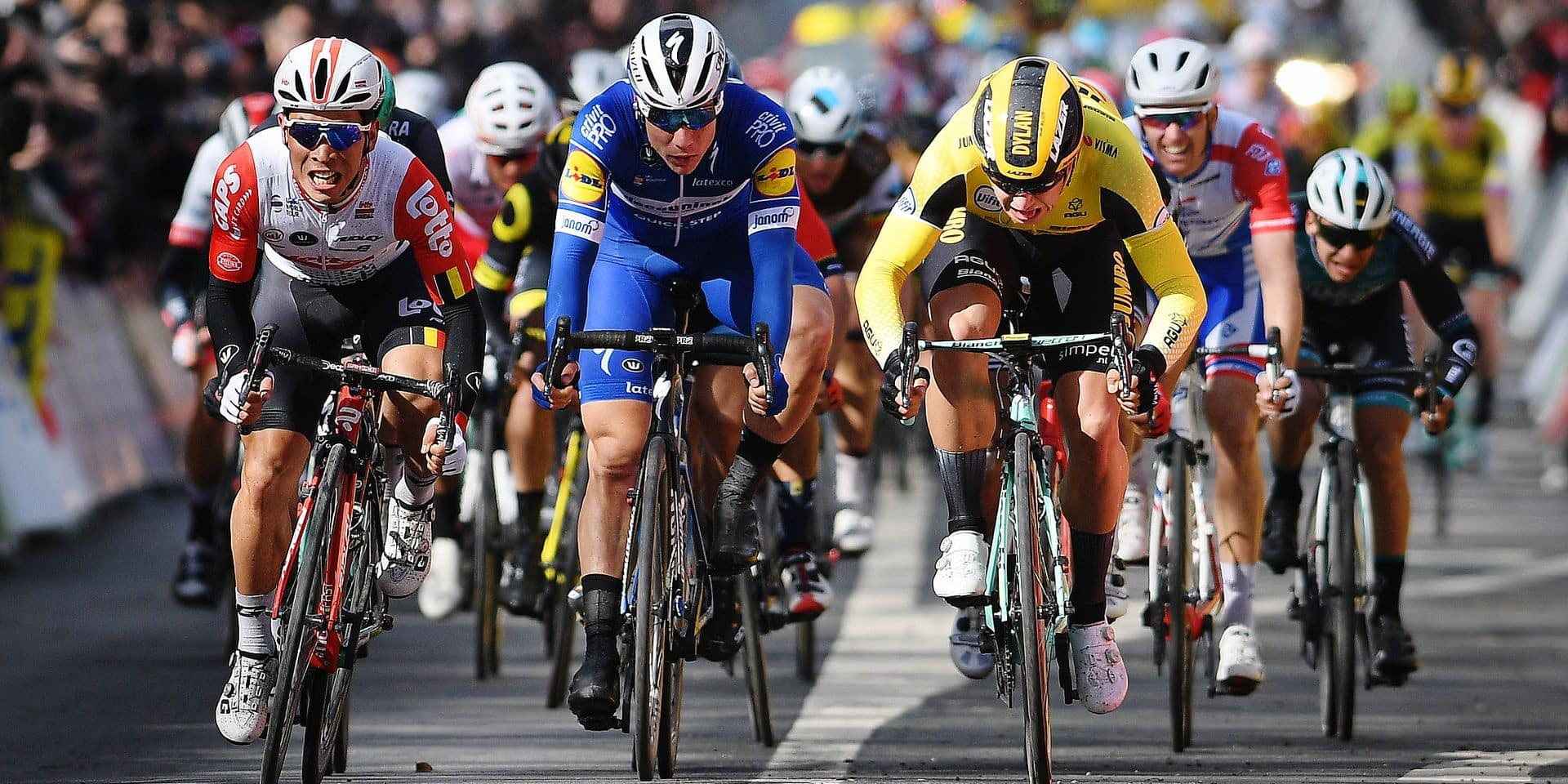 Dutch Dylan Groenewegen of Team Jumbo-Visma (R) wins the sprint ahead of Australian Caleb Ewan of Lotto Soudal (L) and Dutch Fabio Jakobsen of Deceuninck - Quick-Step (C) in the first stage of the 77th edition of Paris-Nice cycling race, 138,5km from Saint-Germain-en-Laye to Saint-Germain-en-Laye, France, Sunday 10 March 2019. The race starts on the 10th and ends on the 17th of March. BELGA PHOTO DAVID STOCKMAN