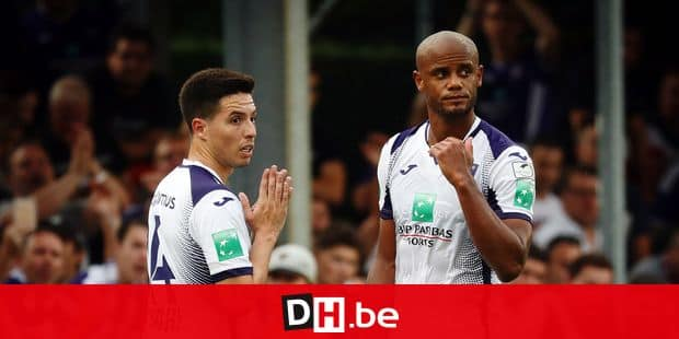 Anderlecht's Samir Nasri and Anderlecht's Vincent Kompany pictured after a soccer match between Royal Excel Mouscron and RSC Anderlecht, Sunday 04 August 2019 in Mouscron, on the second day of the 'Jupiler Pro League' Belgian soccer championship season 2019-2020. BELGA PHOTO VIRGINIE LEFOUR