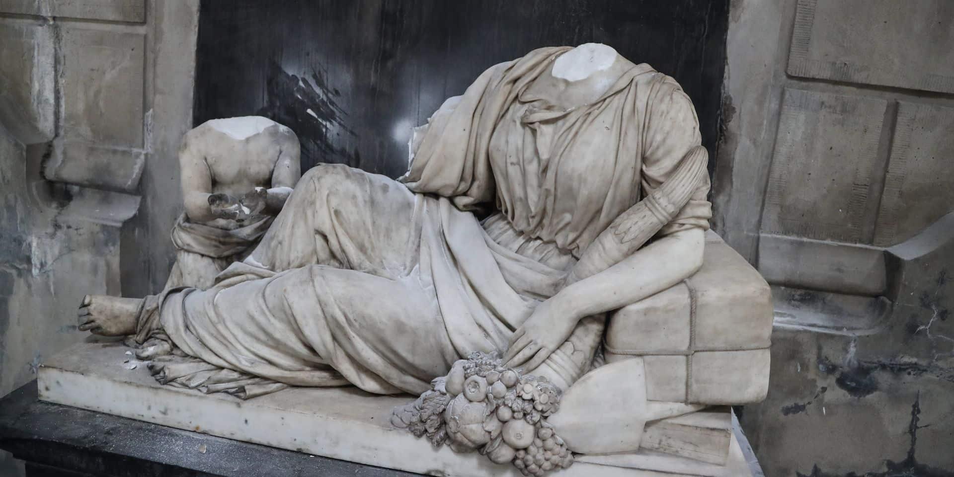 Laeken : Les têtes décapitées de la statue de Dame Fortune toujours portées disparues