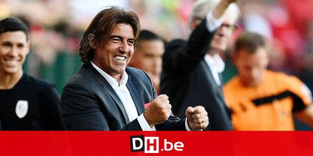 Standard's head coach Ricardo Sa Pinto celebrates during the Jupiler Pro League match between Standard de Liege and KRC Genk, in Liege, Sunday 06 May 2018, on day seven of the Play-Off 1 of the Belgian soccer championship. BELGA PHOTO YORICK JANSENS