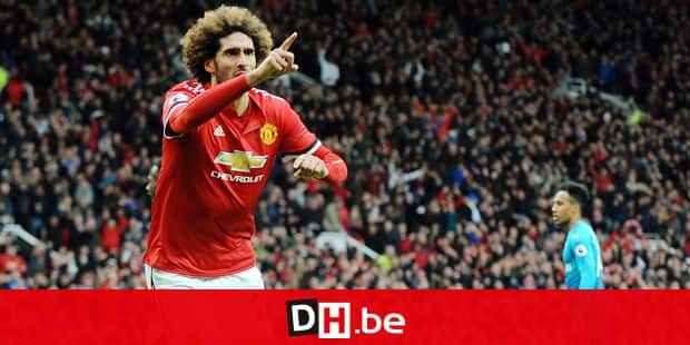 Manchester United's Marouane Fellaini celebrates after scoring his side's second goal during the English Premier League soccer match between Manchester United and Arsenal at the Old Trafford stadium in Manchester, England, Sunday, April 29, 2018. (AP Photo/Rui Vieira)