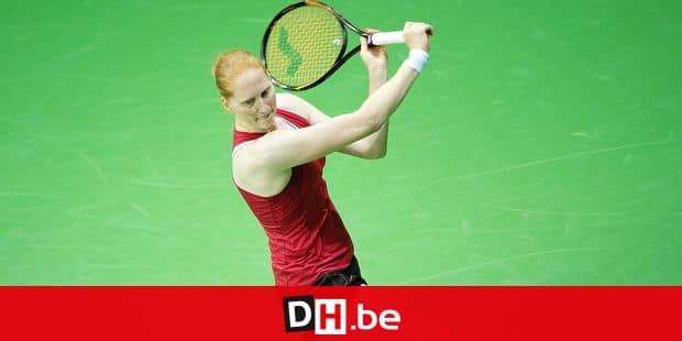 Belgian Alison Van Uytvanck pictured during a tennis match between Belgian Alison Van Uytvanck and French Caroline Garcia, the first rubber of the Fed Cup tennis meeting between Belgium and France, the quarter-finals of the World Group, Saturday 09 February 2019 in Liege. BELGA PHOTO BENOIT DOPPAGNE