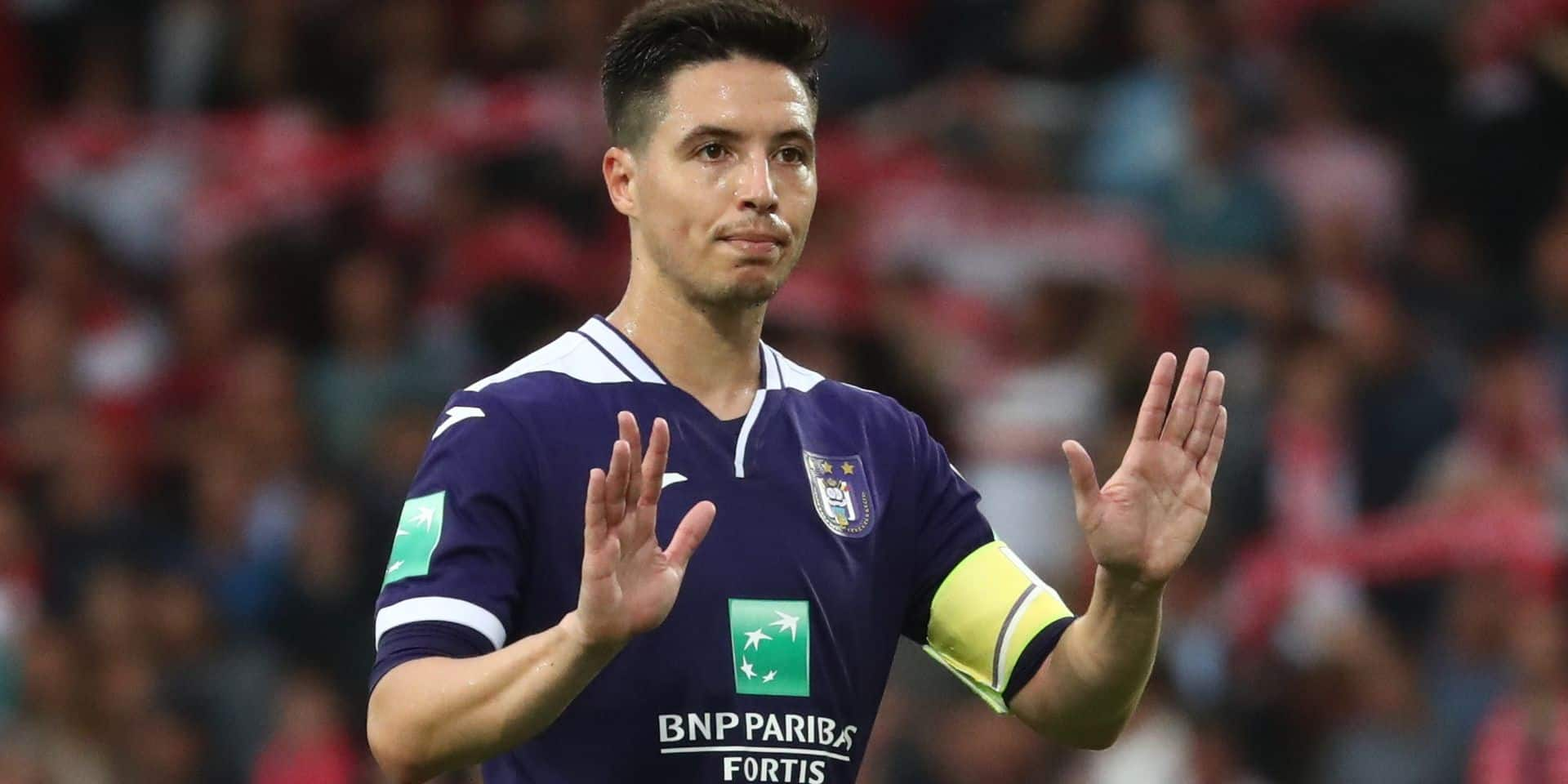 Anderlecht's Samir Nasri looks dejected after a soccer match between KV Kortrijk vs RSC Anderlecht, Saturday 17 August 2019 in Kortrijk, on the fourth day of the 'Jupiler Pro League' Belgian soccer championship season 2019-2020. BELGA PHOTO VIRGINIE LEFOUR