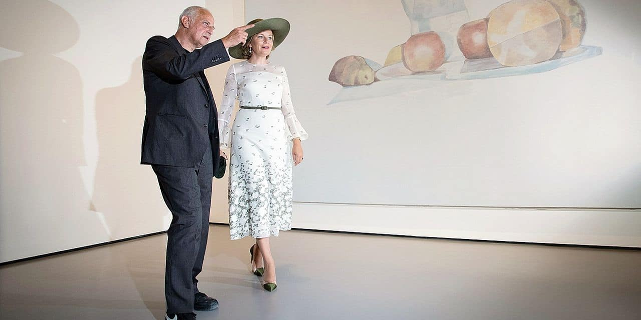 Queen Mathilde of Belgium and Artist Luc Tuymans pictured at Palazzio Grassi during a visit of the Queen to the 58th Venice Biennale Arte, International Art Exhibition, Friday 06 September 2019, in Venice, Italy. BELGA PHOTO BENOIT DOPPAGNE