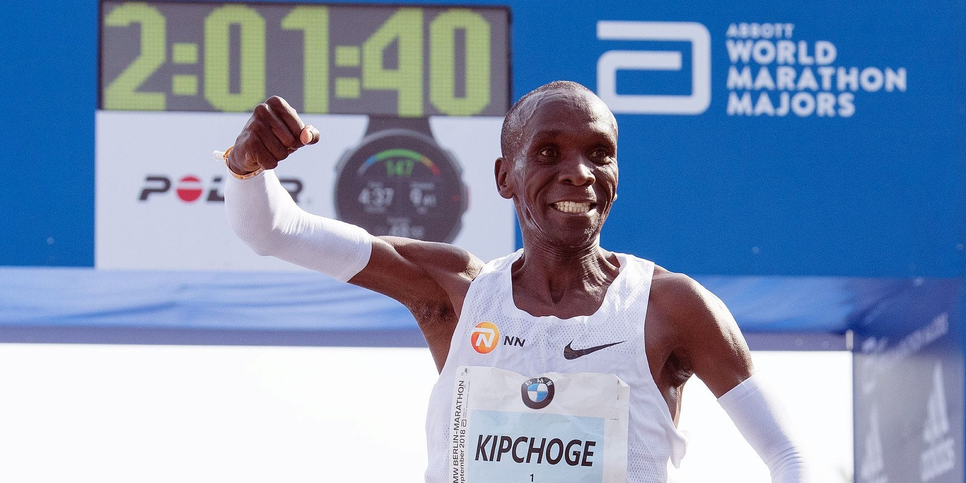 16 September 2018, Berlin: Eliud Kipchoge, Kenyan long-distance runner celebrates after wining the 45th BMW Berlin Marathon, in Berlin, Germany, 16 September 2018. Photo: Soeren Stache/dpa