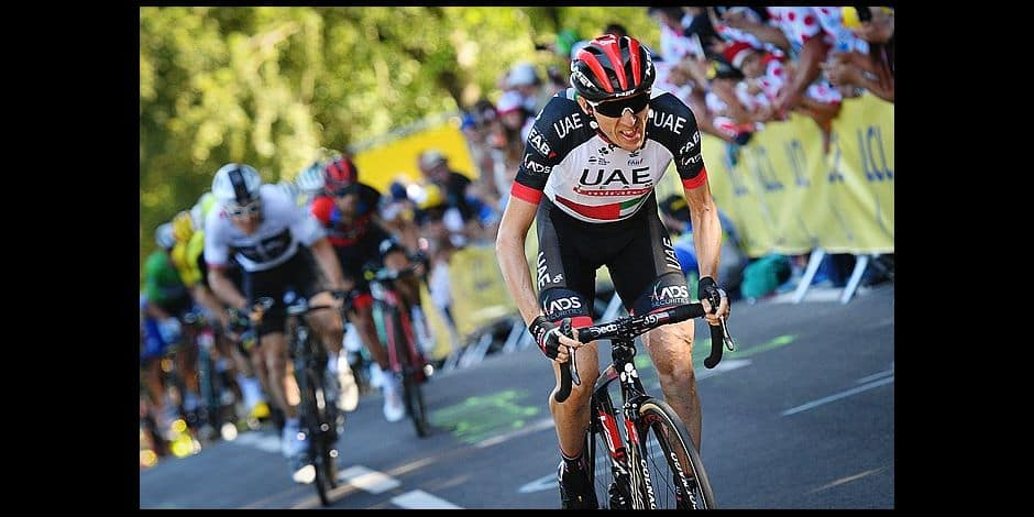 Irish Daniel Martin of UAE Team Emirates attacks on the Mur de Bretagne during the sixth stage of the 105th edition of the Tour de France cycling race, from Brest to Mur de Bretagne Guerledan (181 km), in France, Thursday 12 July 2018. This year's Tour de France takes place from July 7th to July 29th. BELGA PHOTO DAVID STOCKMAN