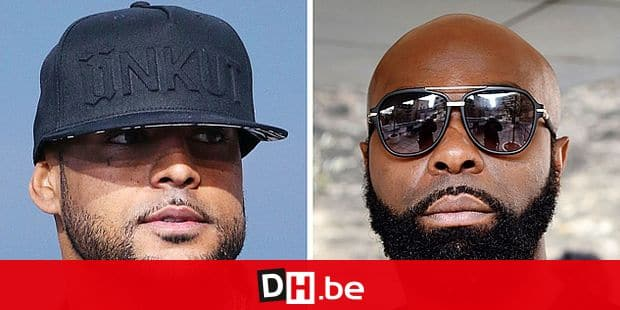 (FILES)(COMBO) This file combo picture made on August 1, 2018, shows French rapper Booba (L) on May 19, 2014, in Cannes, southern France, and French rapper Kaaris (R) on March 25, 2015, in Paris. - The Creteil court house will deliver on October 9, 2018 its sentence in the case of French rappers Booba and Kaaris after a fight at Orly airport on August 1, 2018 that also involved members of their entourage, which caused flight delays and the temporary closure of the hall 1. (Photo by Dominique FAGET and Loïc VENANCE / AFP)