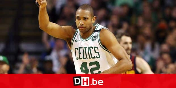 BOSTON, MA - MAY 13: Al Horford #42 of the Boston Celtics celebrates the play against the Cleveland Cavaliers during the first quarter in Game One of the Eastern Conference Finals of the 2018 NBA Playoffs at TD Garden on May 13, 2018 in Boston, Massachusetts. Maddie Meyer/Getty Images/AFP == FOR NEWSPAPERS, INTERNET, TELCOS & TELEVISION USE ONLY ==